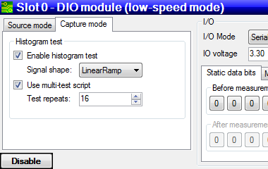 "Figure 14 Click ""Use multi-test script"" to enable the multi-histogram test"