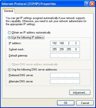 IP and subnet mask configuration